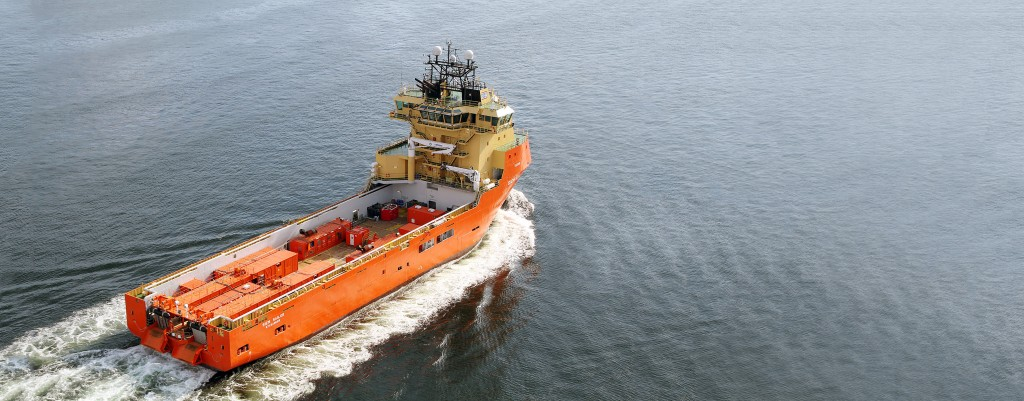 Aerial photograph of the M/V Siem Sailor with the Dual Portable Modular Source System on board the back deck for Statoil's PRM project operating on the Snorre oil field